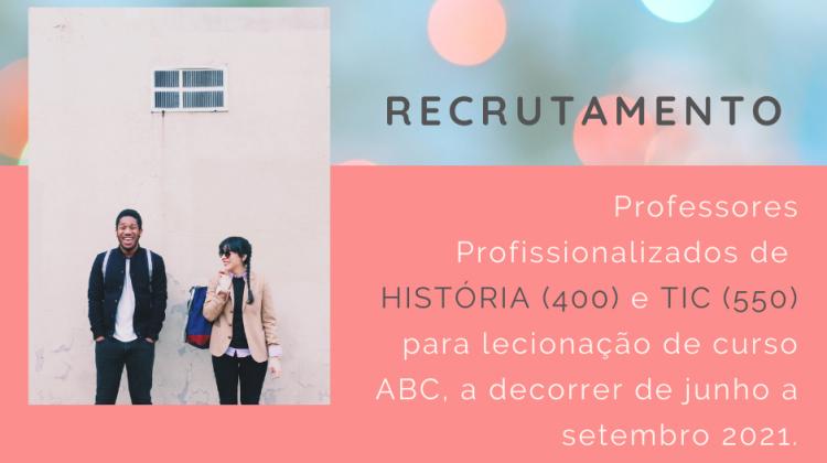 Recrutamento PROFESSOR HISTÓRIA e TIC